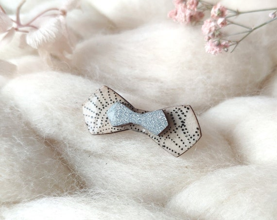 Bow tie brooch - Laser cut wood and origami papers - White, black dots, silver