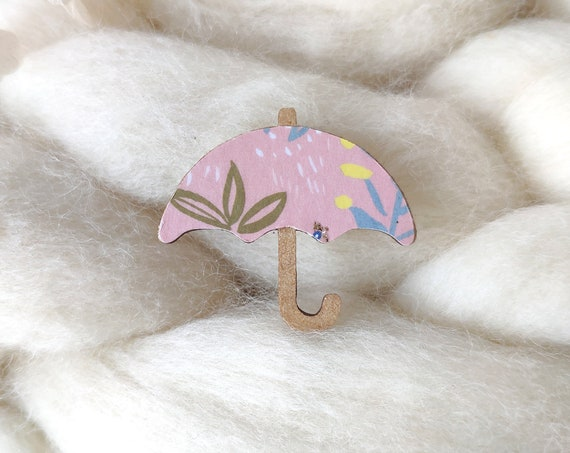 Umbrella brooch - Laser cut wood and origami paper - Various colors and patterns