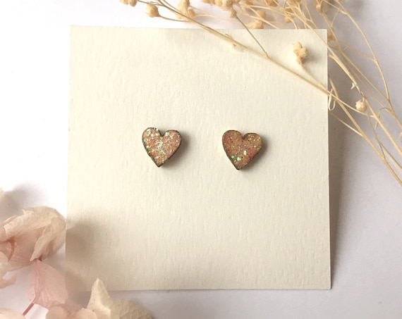 Love heart earrings - Laser cut wood and origami paper - White holographic glitter