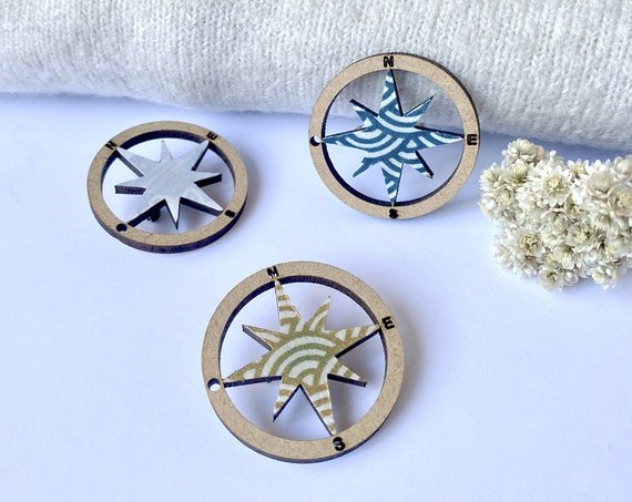 Compass rose - Laser cut wood and origami paper - Blue, teal, Galaxy