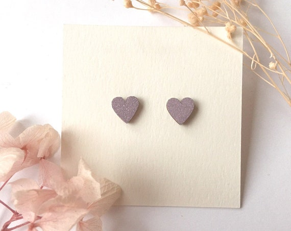 Love heart earrings - Laser cut wood and origami paper - Pink glitter