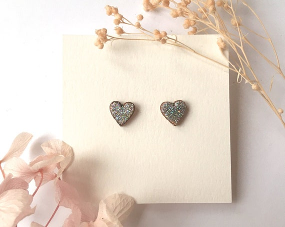 Love heart earrings - Laser cut wood and origami paper - Silver holographic glitter