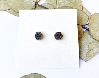 Cute hexagon earrings - Laser cut wood and black glittery origami paper