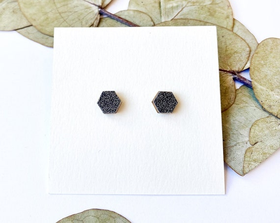 Cute hexagon earrings - Laser cut wood and black glittery origami paper