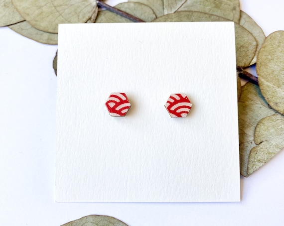 Cute hexagon earrings - Laser cut wood and colorful origami paper - Red and white waves