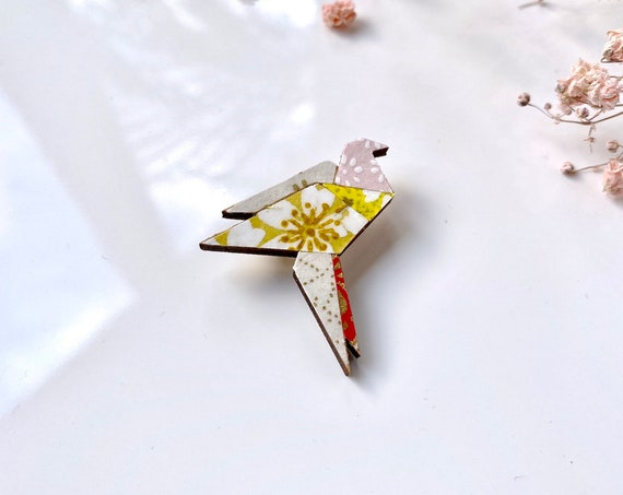 Crane bird brooch - Laser cut wood and origami paper - Yellow and gold variations