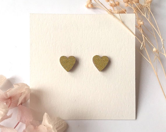 Love heart earrings - Laser cut wood and origami paper - Light gold glitter