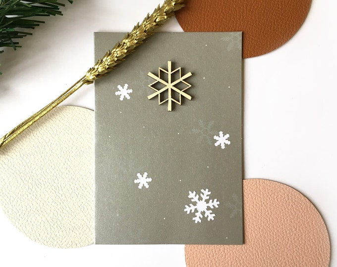 Double greeting card, Christmas and Happy New Year Snowflakes - Silver card decorated with white paper and wood flakes