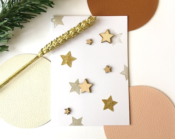 Greeting card - festive stationery - wooden stars - Cutting stars in gold and glittered paper