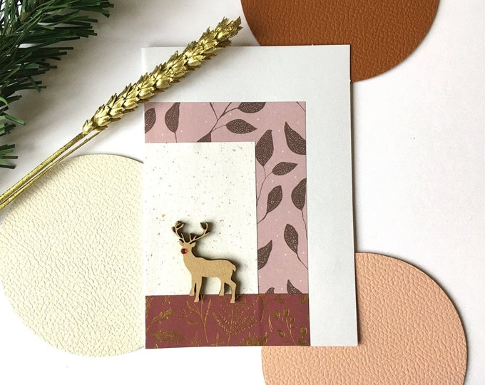 Double Christmas card, Merry Christmas greetings and Happy New Year Rudolf the red-nosed reindeer - Card decorated with cut-out papers