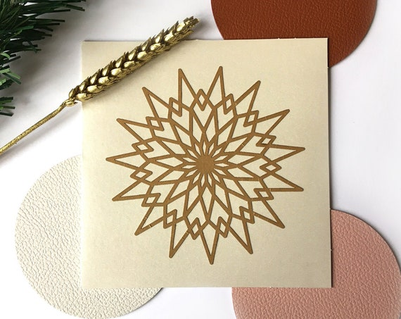 Greeting card - festive stationery - Gold rosette star-shaped paper cut - iridescent beige card