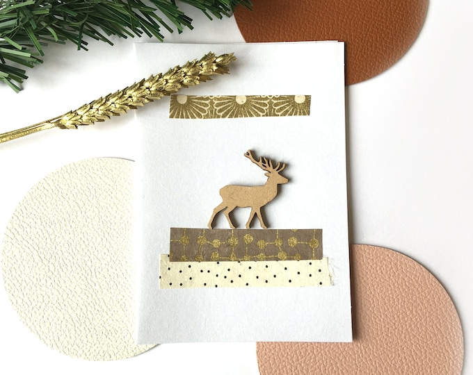 Double Christmas card, Merry Christmas greetings and Happy New Year Rudolf the reindeer - Card decorated with colorful cut-out papers on an iridescent white background