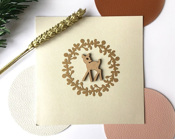 Greeting card - Festive stationery - Cutting wooden fawn and gold paper twig