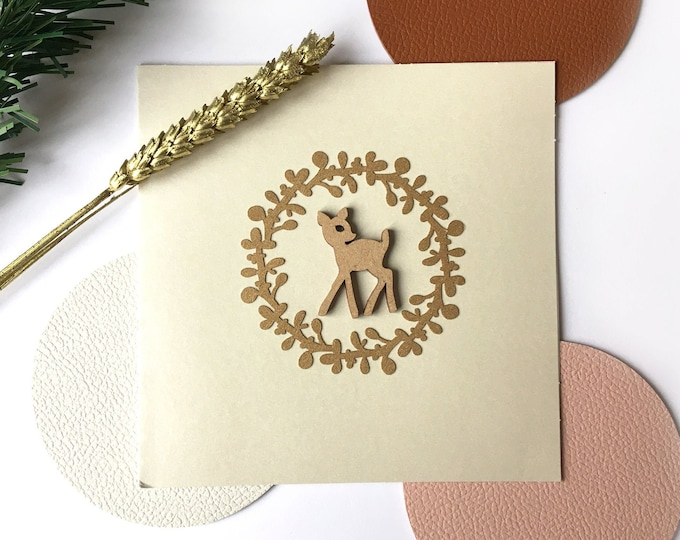 Merry Christmas and Happy New Year greeting card - Wooden fawn shape, laser-cut gold paper twig - Double iridescent beige card