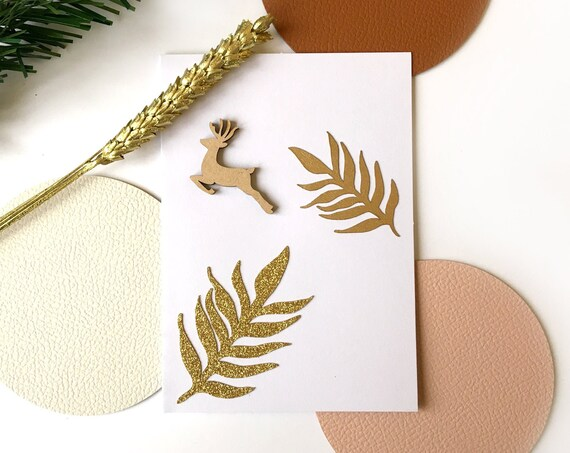 Greeting card - Festive stationery - Wooden Christmas reindeer - Cutting of leaves in gold and strawed paper