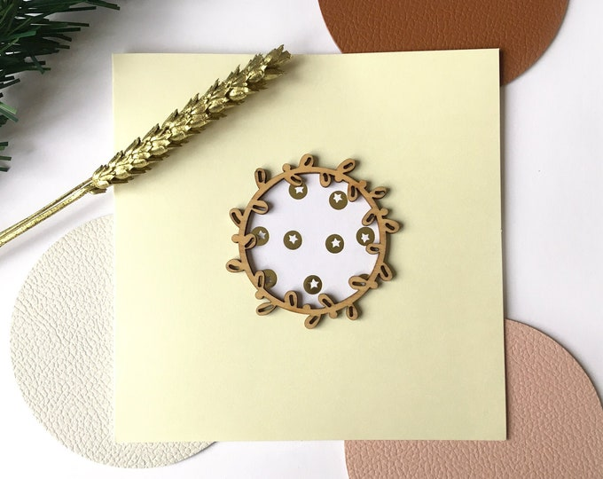 Merry Christmas and Happy New Year greeting card - Wooden twig shape, inclusion of festive patterned papers - Double light beige card
