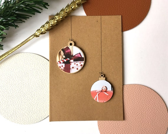 Greeting card - Festive stationery - Wooden Christmas balls and paper cuttings - Festive theme