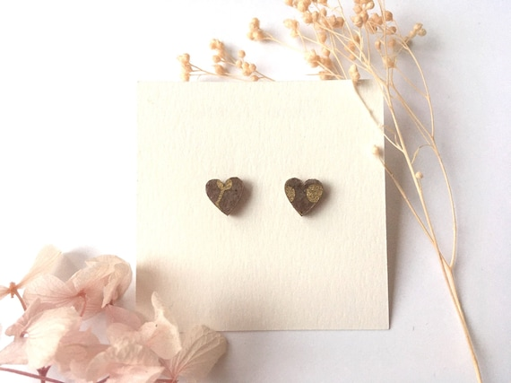Heart love earrings - Laser cut wood and origami paper - taupe and gold polka dots