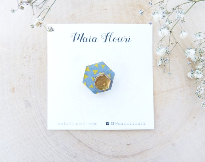 Laser cut wood and paper brooch - Hexagonal wood shape - Geometric triangles on soft blue rice paper - Gold foiled paper - Origami pin's