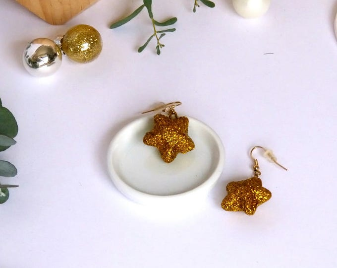 Christmas Holiday season earrings - very light and shimmery - 3D glitter gold stars, gold plated elements, beige Swarocski crystal,