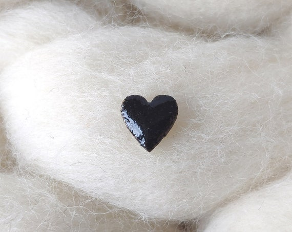 Laser cut heart wood and glitter - Cute tiny decorative pin - black sparkles