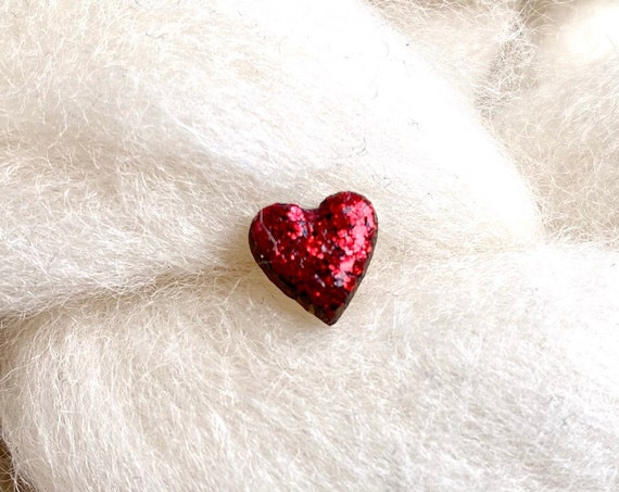 Laser cut heart wood and glitter - Cute tiny decorative pin - red sparkles