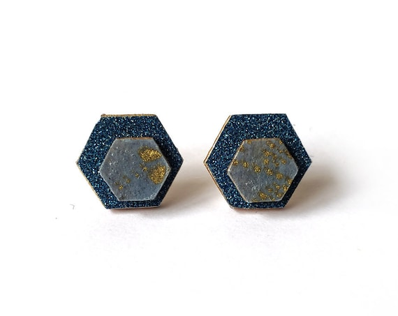 Cute hexagon earrings - Laser cut wood and colorful origami paper - Blue glitter