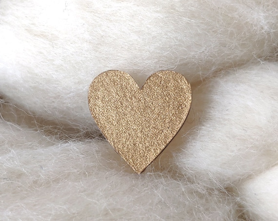 Laser cut heart shaped pin - Love brooch - Golden coppery origami paper