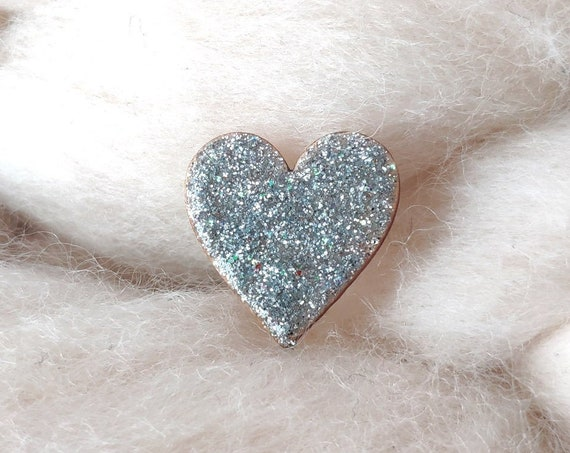 Laser cut heart shaped pin - Love brooch - Glittery origami paper - 3 variations available : gold, copper, silver