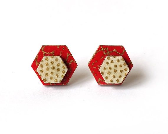 Cute hexagon earrings - Laser cut wood and colorful origami paper - Red and gold