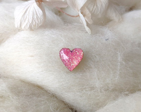 Laser cut heart wood and glitter - Cute tiny decorative pin - Pink sparkles