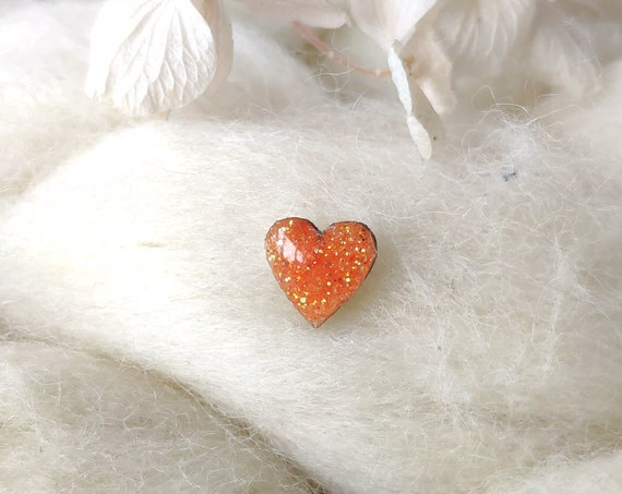Laser cut heart wood and glitter - Cute tiny decorative pin - Orangle and gold sparkles