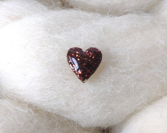 Laser cut heart wood and glitter - Cute tiny decorative pin - brown and copper sparkles
