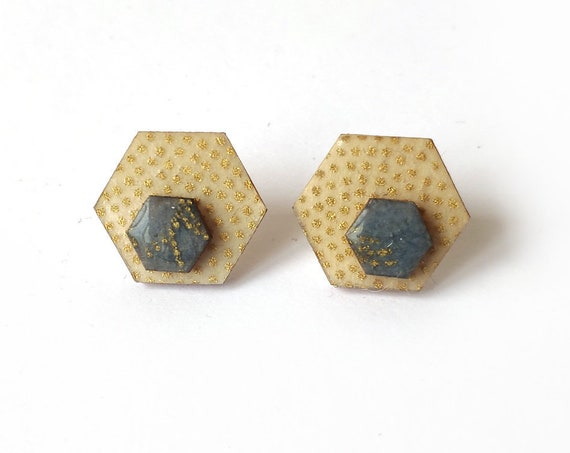 Cute hexagon earrings - Laser cut wood and colorful origami paper - Gold polka dots