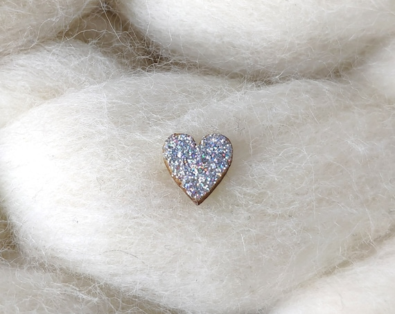 Laser cut heart wood and glitter - Cute tiny decorative pin - holographic and grey silver sparkles