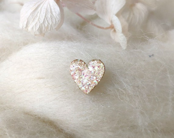 Laser cut heart wood and glitter - Cute tiny decorative pin - holographic sparkles