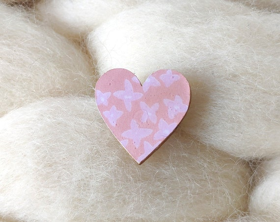 Laser cut heart shaped pin - Love brooch - Rice origami paper - Violet and pink flowers