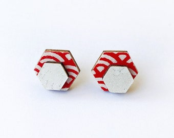 Cute hexagon earrings - Laser cut wood and colorful origami paper - Red and white waves shapes, silver accents