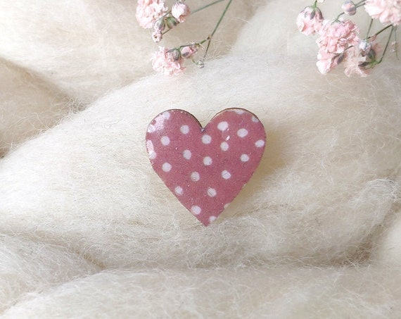 Laser cut heart shaped pin - Love brooch - Rice origami paper - Various pink patterns