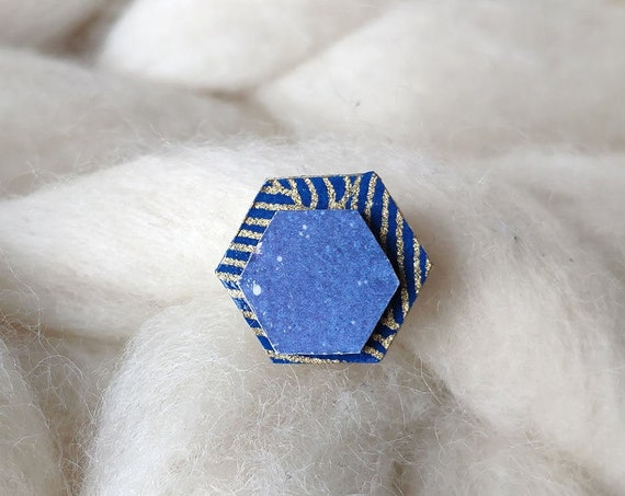 Laser cut wood and paper brooch - Hexagonal wood shape - Gold waves on navy blue, and blue galaxy origami paper