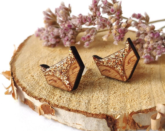 Cute fox earrings - Laser cut wood and glitter earrings - Cute kawaii foxy ear studs - Copper orange glitter - Animal shape jewellery