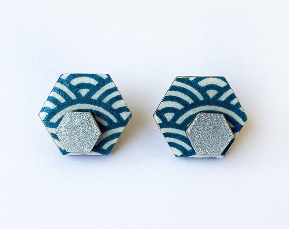 Cute hexagon earrings - Laser cut wood and colorful origami paper - blue waves and silver