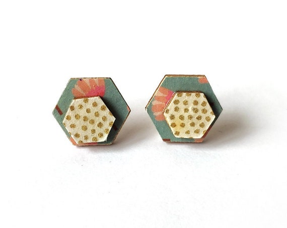 Cute hexagon earrings - Laser cut wood and colorful origami paper - Flowers and polka dots