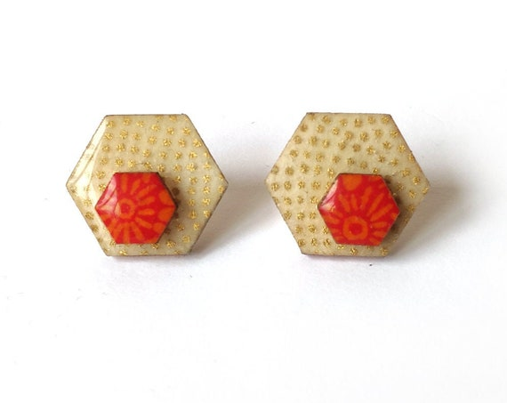 Cute hexagon earrings - Laser cut wood and colorful origami paper - Gold polka dots and red accent