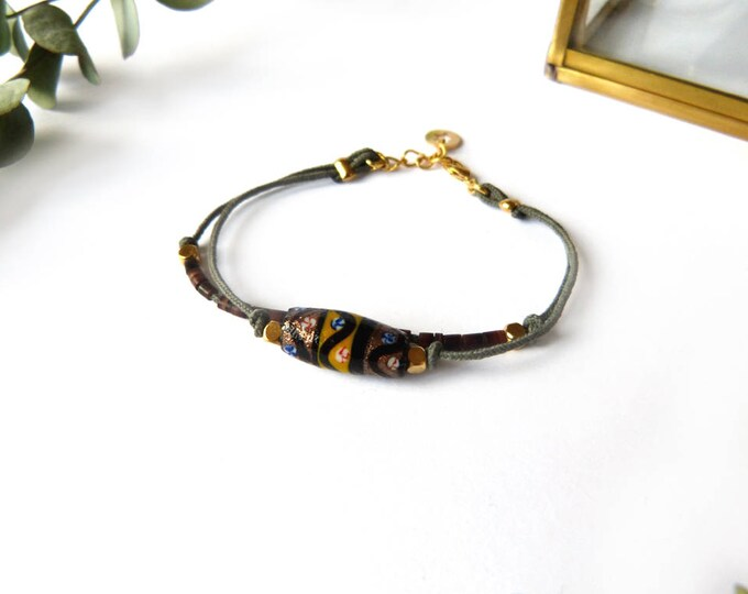 Fall autumn tribal style double bracelet, hand painted clay bead, brown seed beads, gold platted beads on 2 polyester taupe threads,
