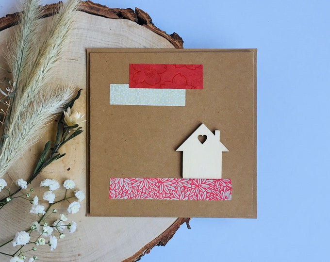 Double Kraft Cardboard Christmas Card, Merry Christmas And Happy New Year Wishes - Wood and Paper - Homemade Balsa Shape - Colorful Papers