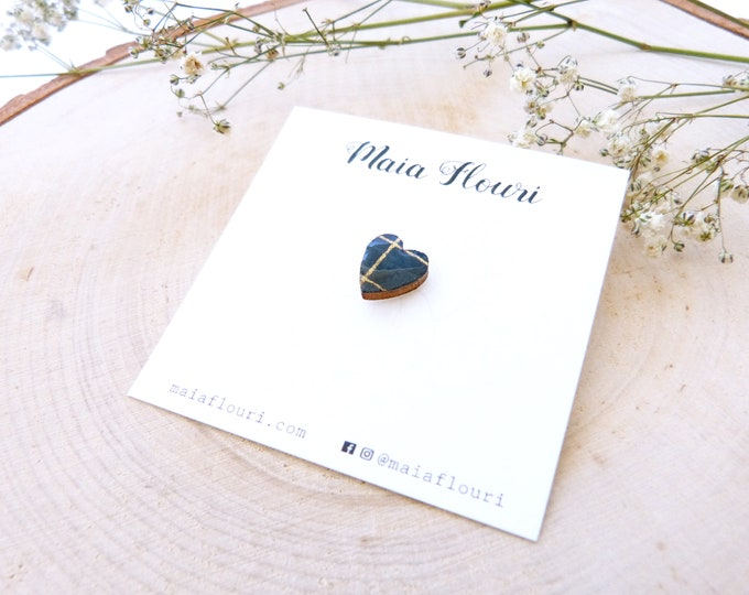 Laser cut heart wood and paper brooch - Cute tiny decorative pin - Blue and gold striped rice paper - hand made love brooch