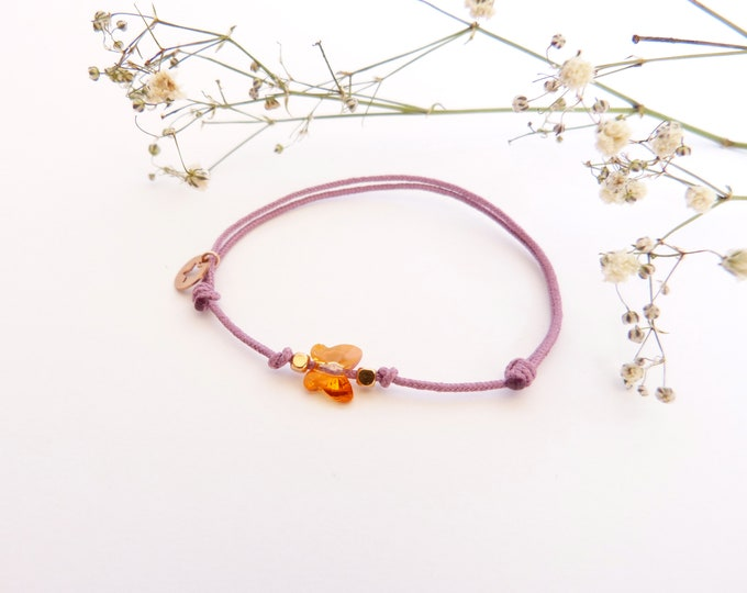 Adjustable bracelet - iridescent orange Swarovski butterfly cristal 6mm - Rose gold plated square and star beads on purple synthetic lacing