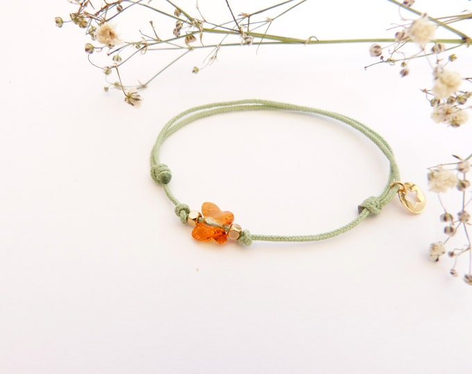 Adjustable bracelet - Bright orange Swarovski butterfly cristal 6mm - Gold plated square and star beads on light green synthetic lacing