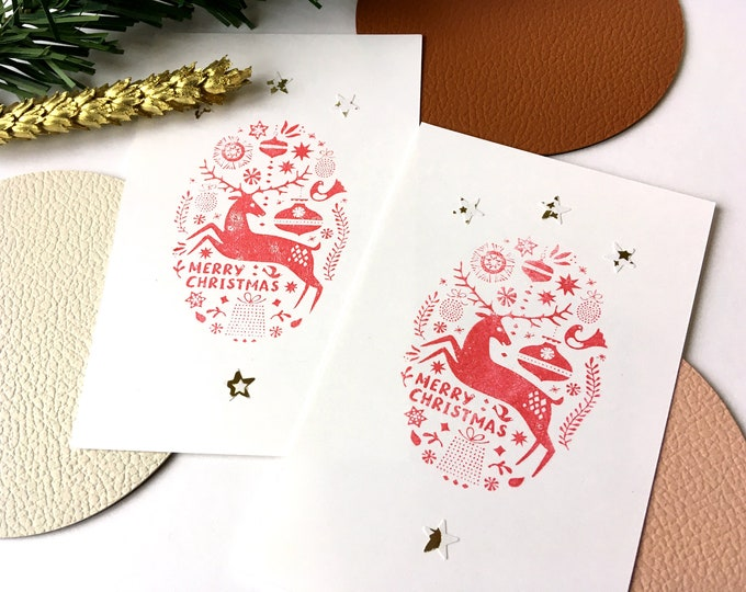 Reindeer Christmas greeting card - Season greetings - Merry Christmas and happy new year - Red deer and golden paper cut stars